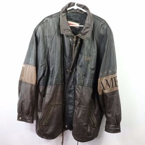 Vintage Perry Ellis Spell Out Leather Jacket 2XL